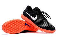 Футбольные сороконожки Nike MagistaX Finale II TF Black/White/Hyper Orange, фото 1