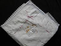 Крыжма- плед для новорожденного ажурный молочный