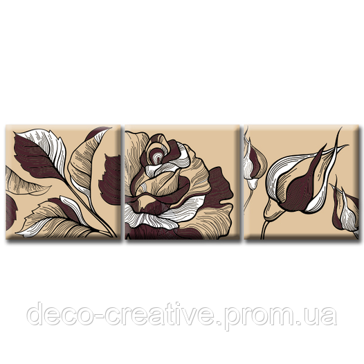 Модульная Картина Glozis Rose D-047 50 х 50 см х 3 Картины