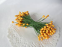 Тычинки двусторонние 20 шт (40 головок) ярко-желтого цвета, фото 1