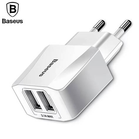 Універсальний зарядний пристрій Baseus Mini Dual-U fast charge. Quick Charge. Швидка зарядка. White, фото 2