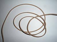 Шляпная резинка (круглая) 2мм бежевая в белую точку