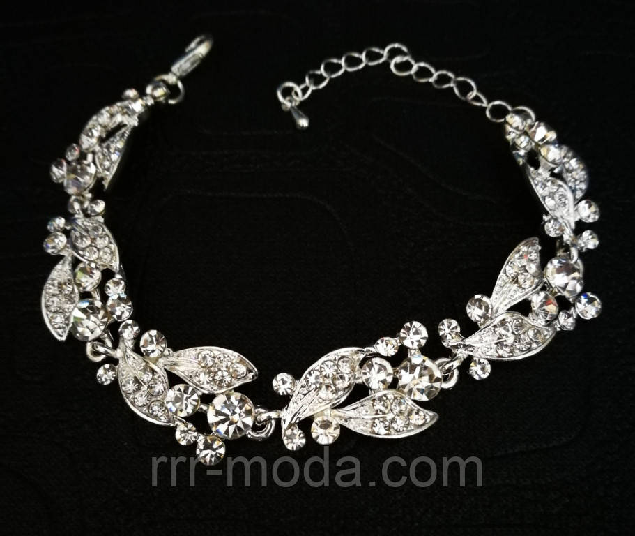 Очаровательный вечерний браслет с камнями. Дизайнерская свадебная бижутерия оптом. 998