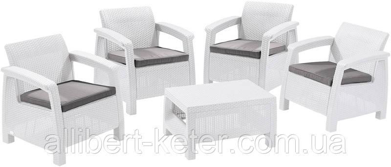 Комплект садових меблів зі штучного ротангу CORFU QUATTRO SET білий (Allibert)