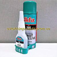 AKFIX Клей цианакрилатный универсальный 705 MDF KIT высокой вязкости в комплекте с активатором 15сек -20°C>t°<70°C прозрачный 100г+ 400*мл