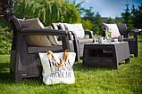 Комплект садових меблів зі штучного ротангу CORFU QUATTRO SET темно-коричневий (Allibert), фото 3