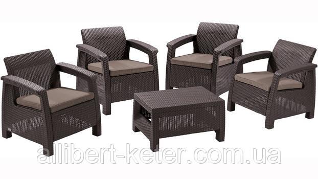 Комплект садових меблів зі штучного ротангу CORFU QUATTRO SET темно-коричневий (Allibert)