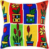 V-110 Цветы в горшках. Подушка. Чарівниця. Набор для вышивания нитками на канве с нанесенным рисунком