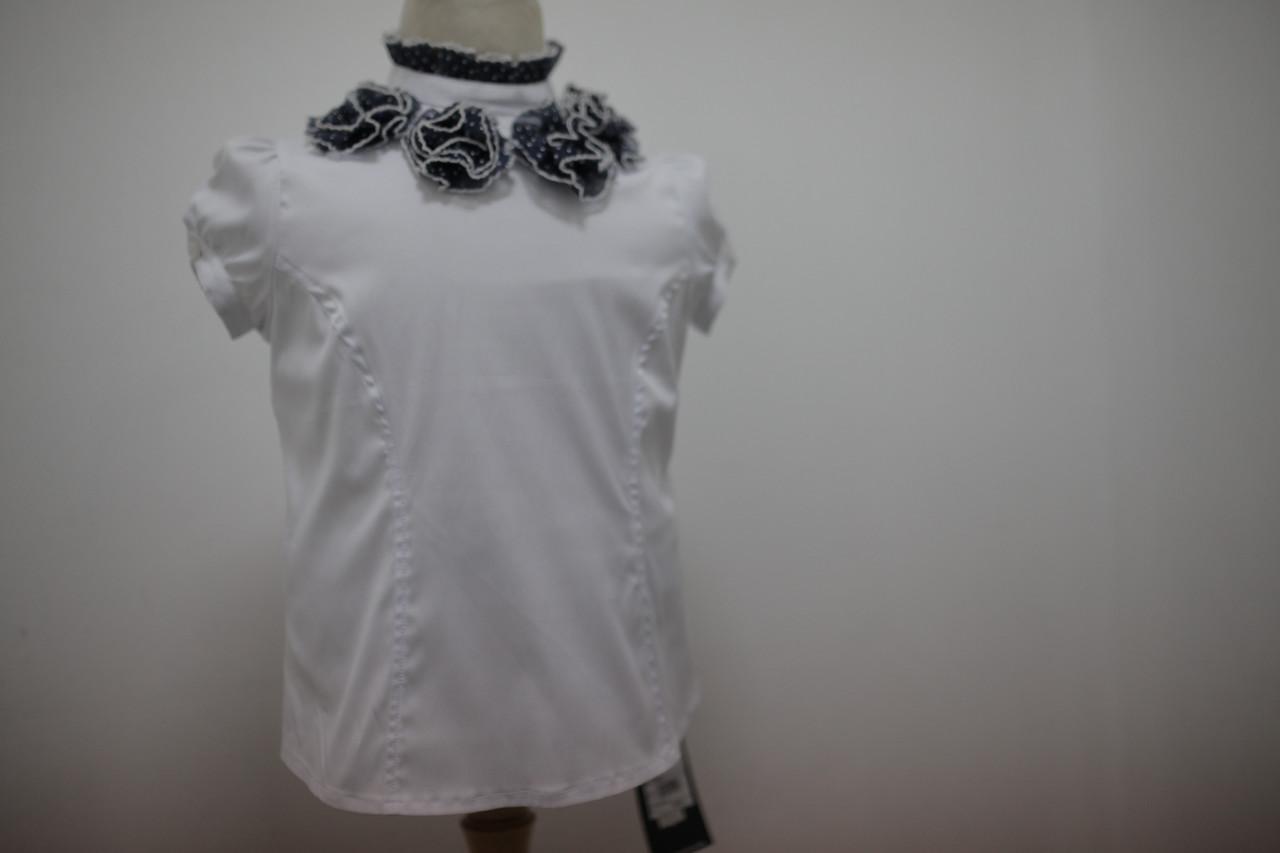 Блуза школьная белая для девочки с коротким рукавом-фонариком и синими цветами по горловине р.122