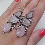 Розовый кварц серьги натуральный кварц в серебре, фото 2