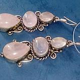 Розовый кварц серьги натуральный кварц в серебре, фото 3