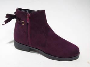 Ботинки женские бордовый Искусственная замша
