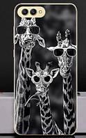 Силиконовый бампер чехол для Huawei Honor V10 с рисунком Жирафы