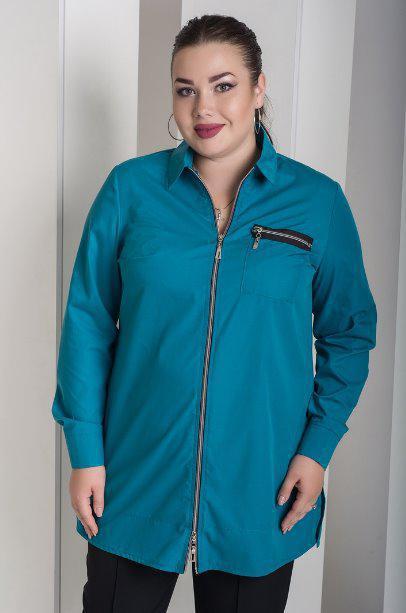 b022c12d91d Бирюзовая рубашка женская на молнии