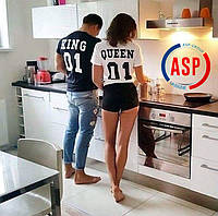 Футболки парные черные и белые King 01 Queen 01 для королев и королев под заказ