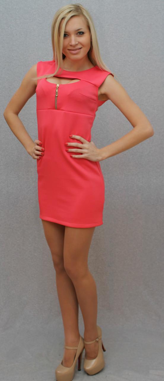 Платье с молнией розовый