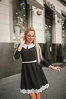 Платье женское короткое в классическом стиле с кружевом P10323, фото 1
