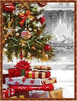 Схема вышивки бисером на габардине Подарки к Рождеству
