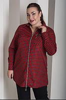 Рубашка в клетку на молнии большого размера, с 48-82 размер, фото 1
