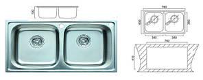 5104 Мойка CRISTAL прямоугольная двойная, врезная 780x430x200 Decor, фото 2