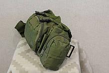 Тактическая универсальная (поясная, наплечная) сумка с системой M.O.L.L.E Black (104-olive), фото 2