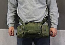 Тактическая универсальная (поясная, наплечная) сумка с системой M.O.L.L.E Black (104-olive), фото 3