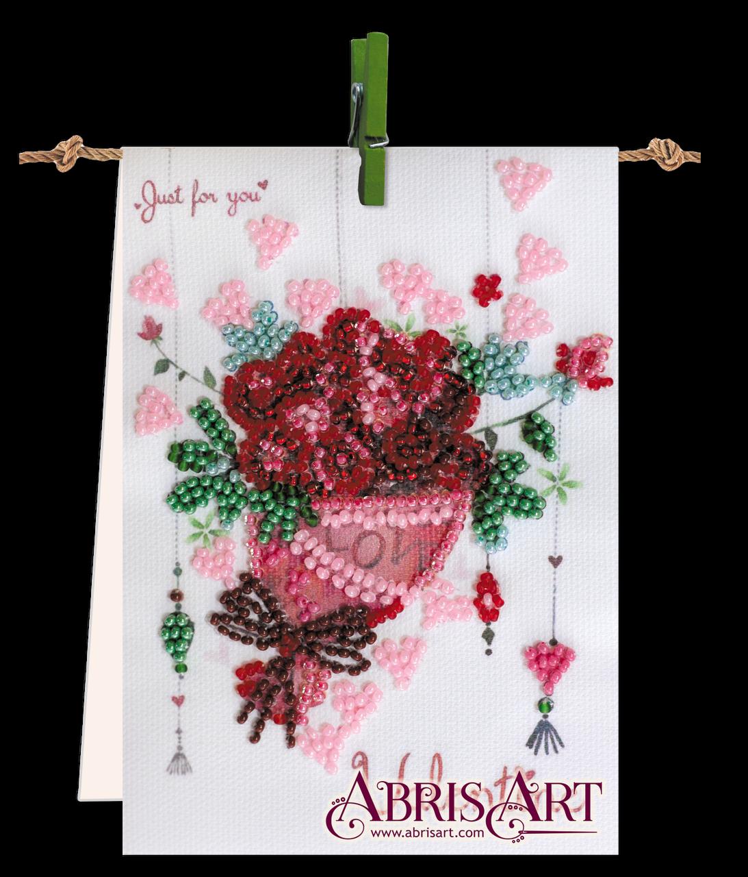 Набор-флажок для вышивки бисером на холсте Букет с любовью