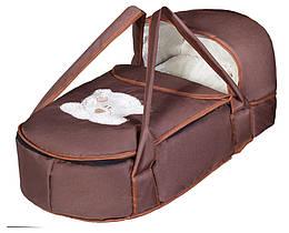 Люлька-переноска Babyroom BLA-056 з твердим дном аплікація шоколад (мордочка ведмедики штопаная)