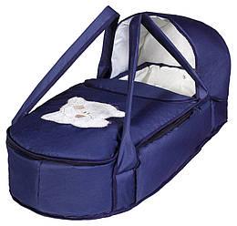 Люлька-переноска Babyroom BLA-056 з твердим дном аплікація темно-синій (мордочка ведмедики штопаная)