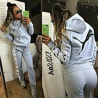 Женский спортивный костюм Puma Пума ткань турецкая двухнитка серый , фото 1