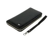 Кожаный кошелек женский клатч черный
