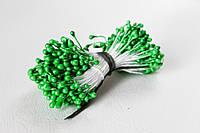 Тычинки двусторонние 25 шт (50 головок) на нити перламутровые зеленого цвета