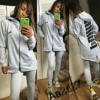Женский спортивный костюм Puma Пума ткань турецкая двухнитка серый, фото 1