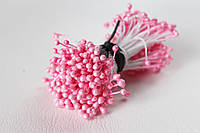 Тычинки двусторонние 25 шт (50 головок) на нити перламутровые розового цвета