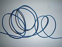 Шляпная резинка (круглая) 2мм голубая в белую точку