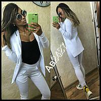 Женский костюм лосины +пиджак ткань стречь джинс +вышивка белый, фото 1