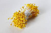 Тычинки двусторонние 25 шт (50 головок) на нити перламутровые желтого цвета