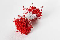 Тычинки двусторонние 25 шт (50 головок) на нити перламутровые красного цвета