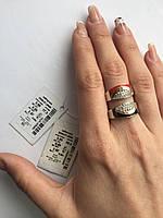 Серебряное кольцо с накладками золота и эмалью