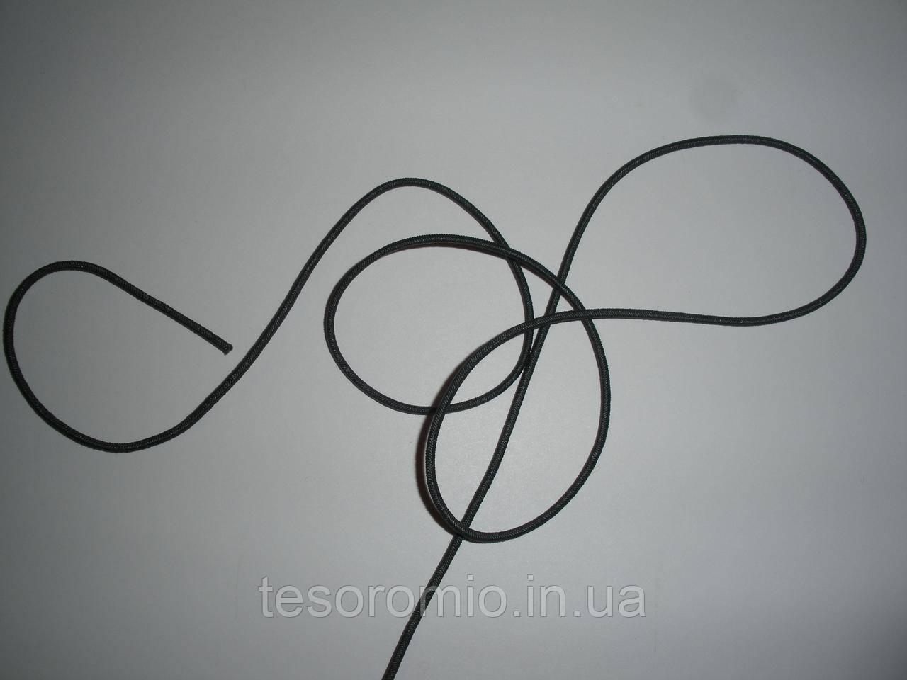 Шляпная резинка (круглая) 2мм темно серая