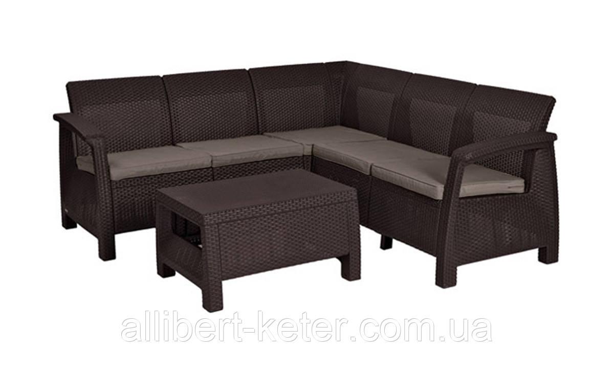 Угловий диван зі штучного ротангу CORFU RELAX SET темно-коричневий (Allibert)