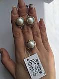 Серебряный комплект с золотом и жемчугом, фото 2