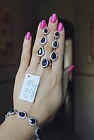 Серебряный комплект Капелька с камнями, фото 1