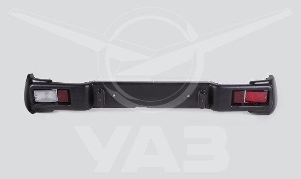 Бампер задний (для а/м уаз хантер, пластиковый в сборе с фонарями)