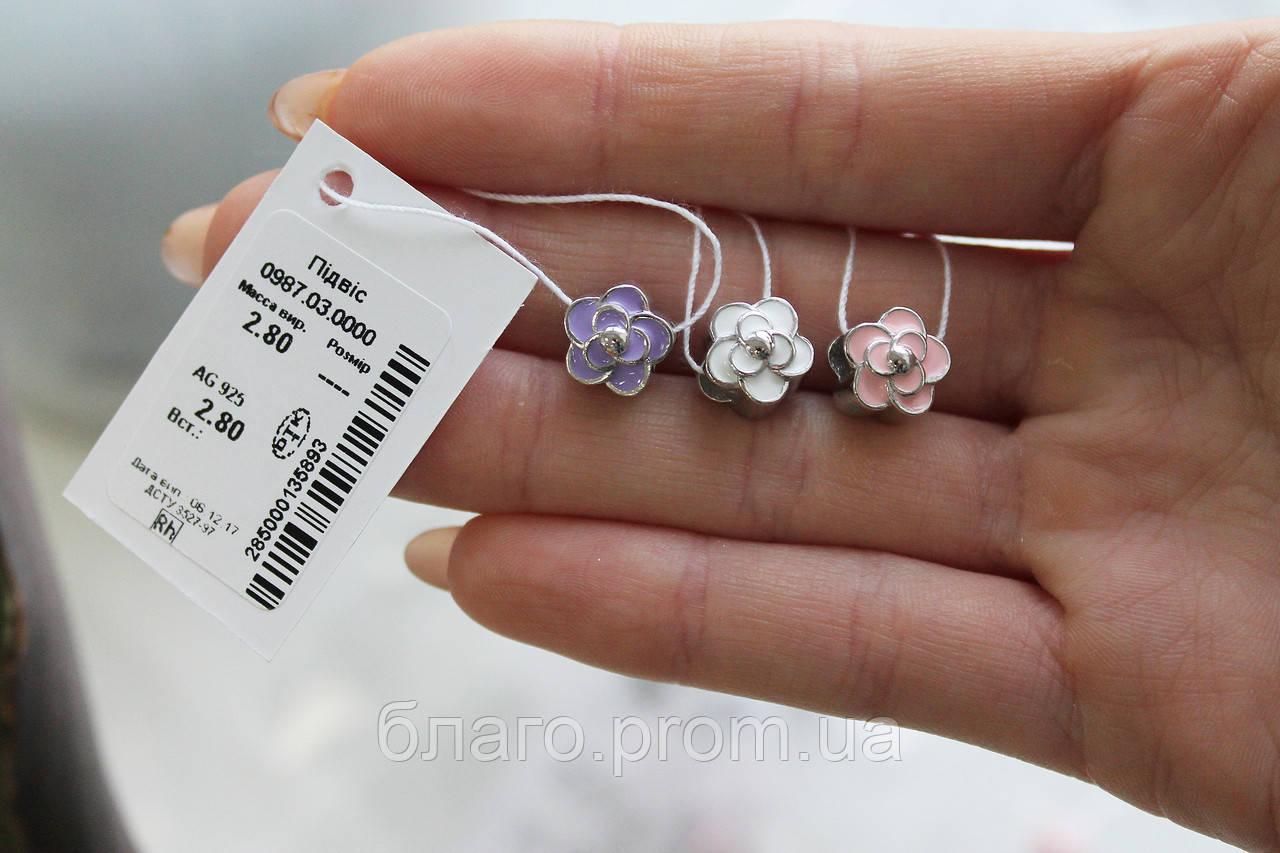 Шарм Квітка з срібла з емаллю - покритий родієм