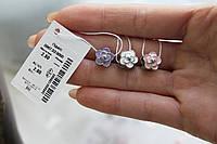 Шарм Цветок из серебра с эмалью - покрыт родием