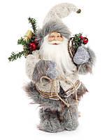 Новогодняя кукла Санта Клаус 30 см, цвет: серый