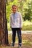 Белая вышиванка для мальчика на длинный рукав с голубой вышивкой (Д071-213)