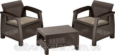 Комплект садових меблів зі штучного ротангу BAHAMAS WEEKEND темно-коричневий (Keter)