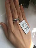 Кільце з срібла 925 проби з цирконами (подвійне), фото 2